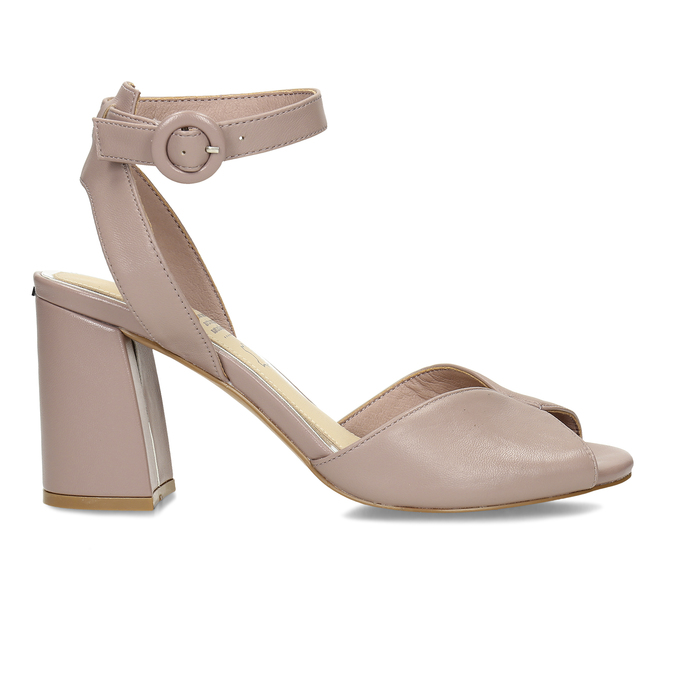 Béžové kožené dámské sandály na širokém podpatku insolia, béžová, 764-4602 - 19