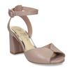Béžové kožené dámské sandály na širokém podpatku insolia, béžová, 764-4602 - 13