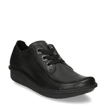 Černá dámská kožená obuv s asymetrickou špičkou clarks, černá, 546-6660 - 13