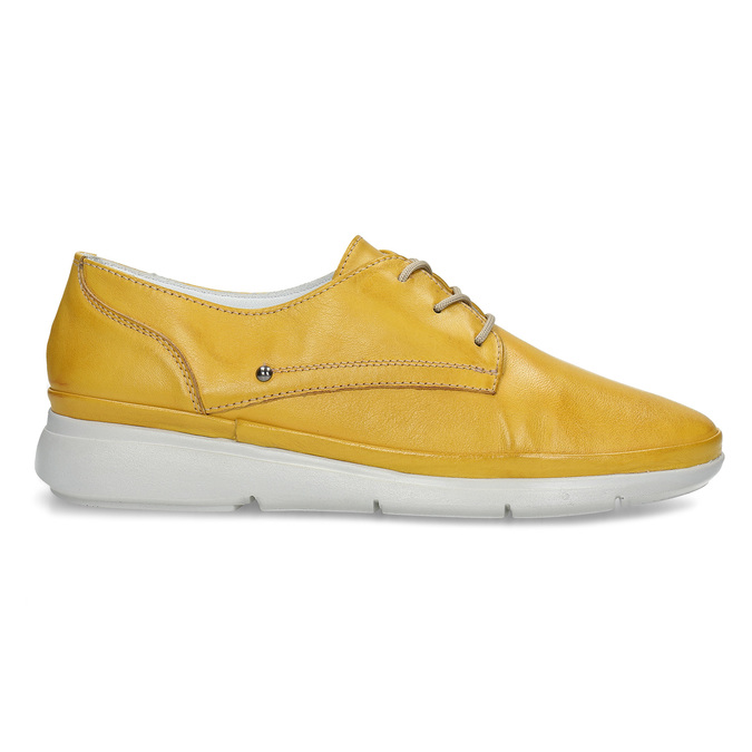 Žluté dámské kožené polobotky bata, žlutá, 524-8609 - 19