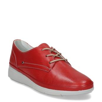 Červené dámské kožené polobotky bata, červená, 524-5609 - 13