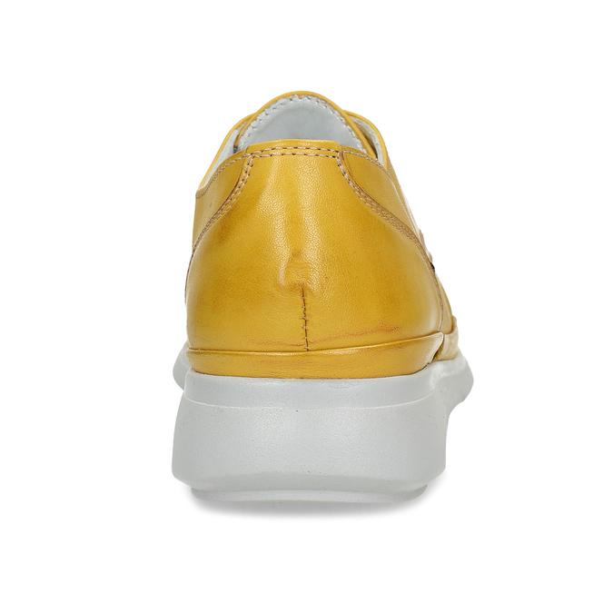 Žluté dámské kožené polobotky bata, žlutá, 524-8609 - 15