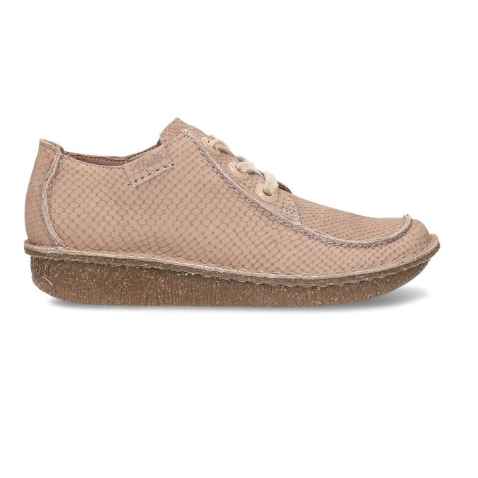 Dámská kožená obuv s hadí texturou clarks, růžová, 546-5660 - 19