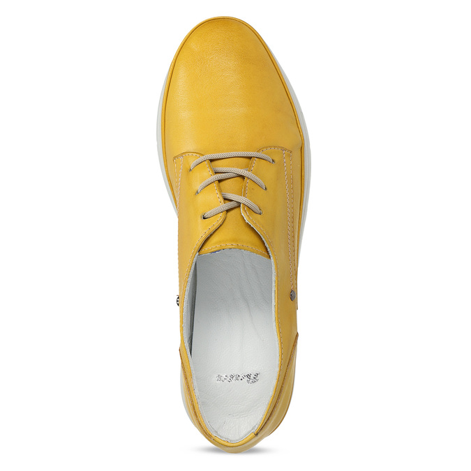 Žluté dámské kožené polobotky bata, žlutá, 524-8609 - 17