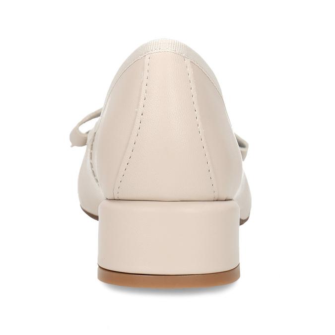 Béžové dámské kožené lodičky na nízkém podpatku bata, béžová, 524-8627 - 15