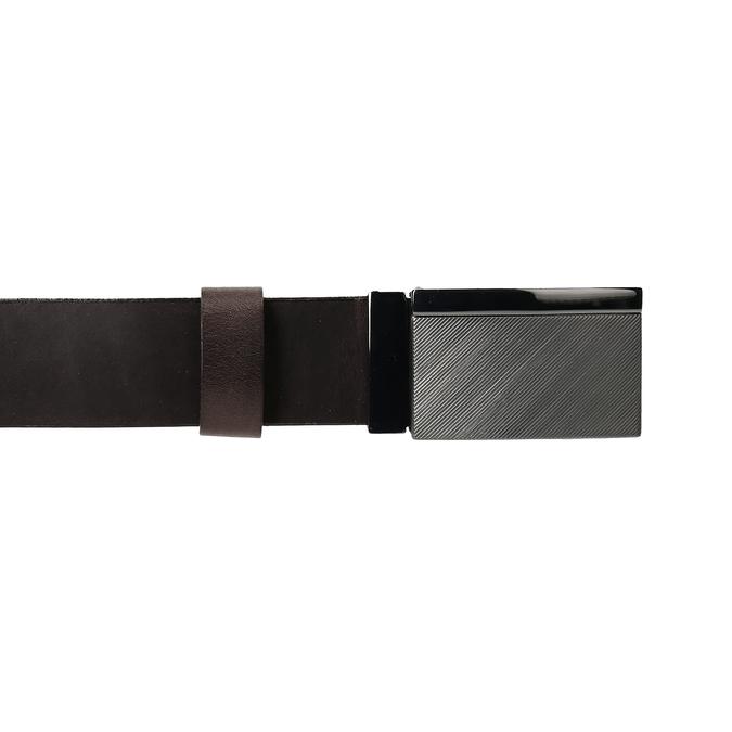 Tmavě hnědý pánský kožený opasek s kovovou sponou bata, hnědá, 954-4603 - 26