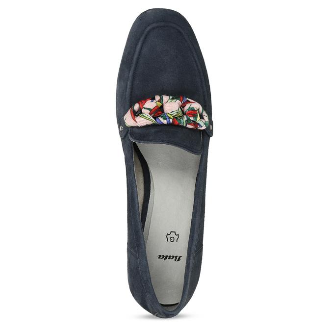 Dámské mokasíny z broušené kůže se stuhou bata, modrá, 513-9602 - 17