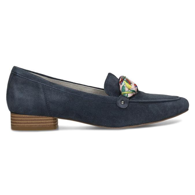 Dámské mokasíny z broušené kůže se stuhou bata, modrá, 513-9602 - 19