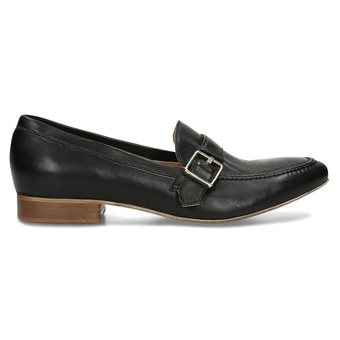Černé kožené dámské mokasíny se sponou bata, černá, 514-6605 - 19