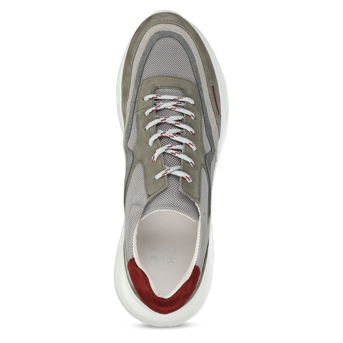 Kožené šedé Chunky tenisky s červenými detaily bata, šedá, 846-2670 - 17