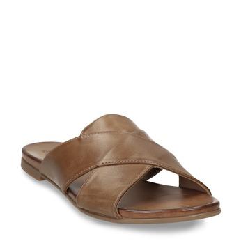 Hnědé dámské kožené nazouváky bata, hnědá, 564-4601 - 13