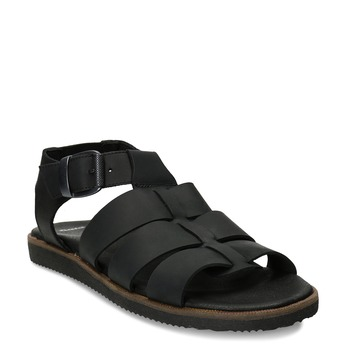 Černé pánské kožené sandály se zapínáním u kotníků bata, černá, 866-6606 - 13