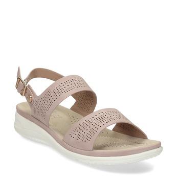 Dámské růžové sandály s perforací comfit, růžová, 561-5603 - 13