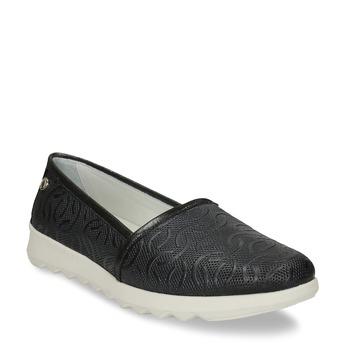Černá dámská kožená slip-on obuv flexible, černá, 524-6621 - 13
