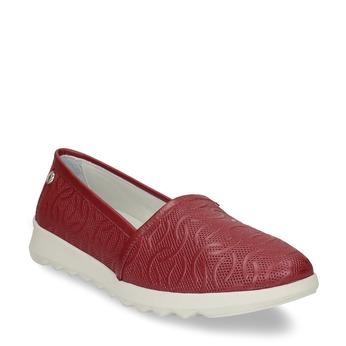 Červená dámská kožená slip-on obuv flexible, červená, 524-5621 - 13