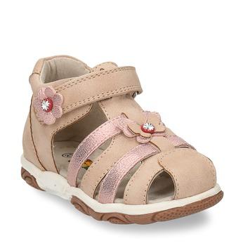 Béžové dětské sandály s kytičkami bubblegummers, béžová, 161-8614 - 13