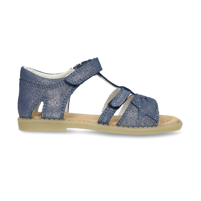 Modré dětské kožené sandály na suchý zip mini-b, modrá, 263-9602 - 19