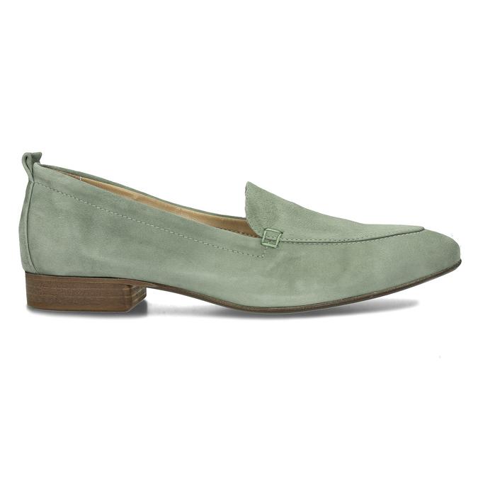 Dámské kožené světle zelené mokasíny bata, zelená, 516-7604 - 19