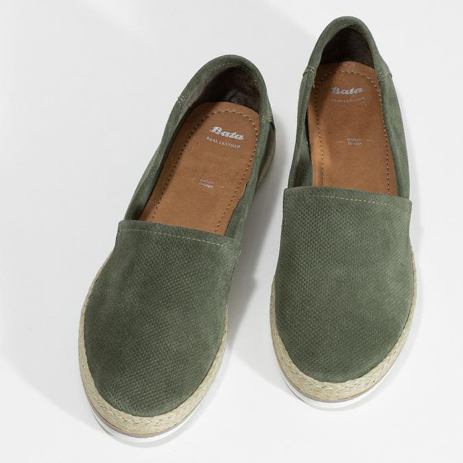 Dámské khaki espadrilky z broušené kůže bata, khaki, 533-3606 - 16