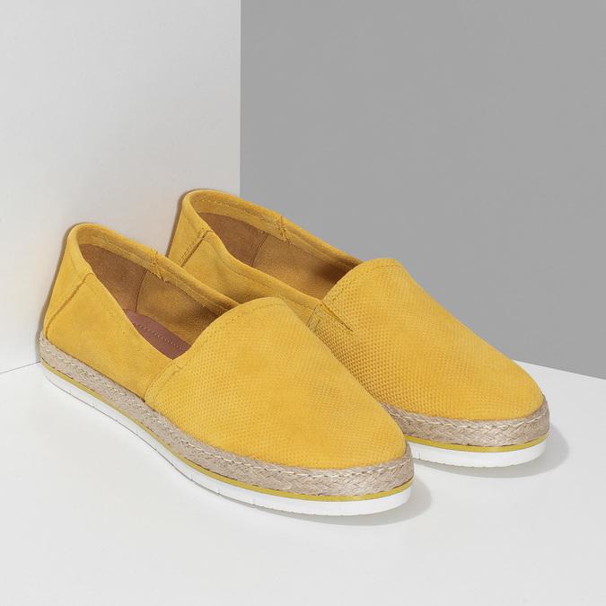 Žluté dámské espadrilky z broušené kůže bata, žlutá, 533-8616 - 26