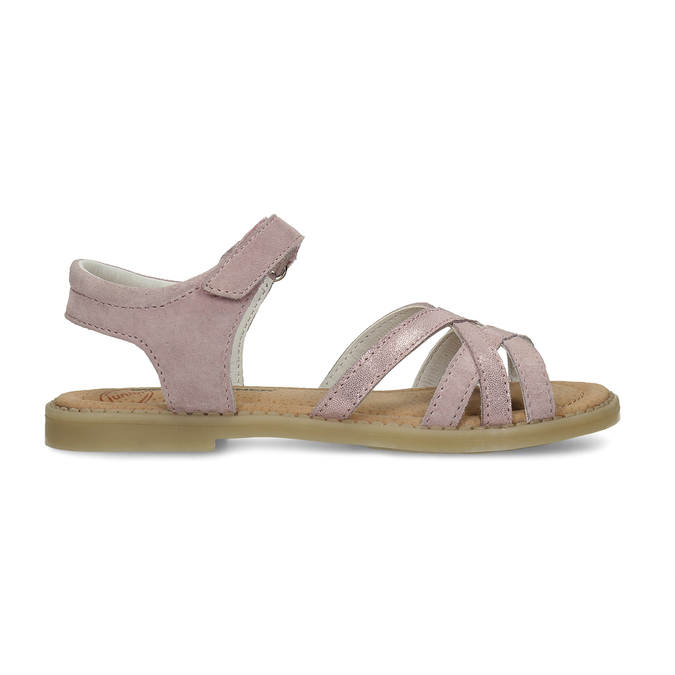 Růžové dětské sandály z broušené kůže mini-b, růžová, 363-5601 - 19