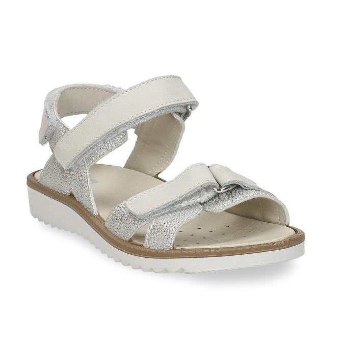 Stříbrné dětské sandály na suché zipy mini-b, stříbrná, 361-8602 - 13
