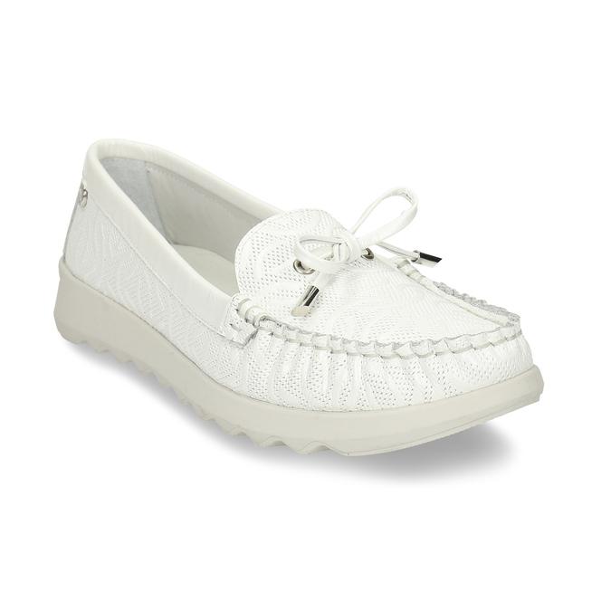 Bílé dámské kožené mokasíny s prošitím flexible, bílá, 514-1602 - 13