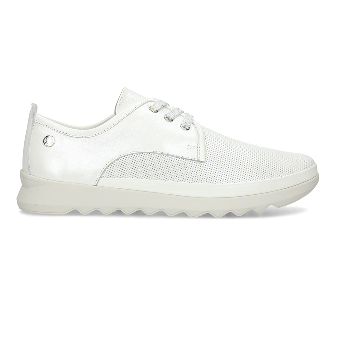 Bílé dámské kožené sportovní polobotky flexible, bílá, 524-1619 - 19