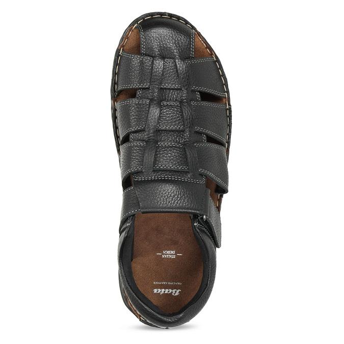 Černé pánské kožené sandále se zavřenou špičkou bata, černá, 864-6633 - 17
