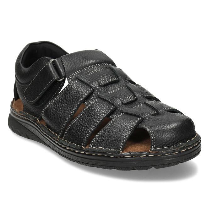 Černé pánské kožené sandále se zavřenou špičkou bata, černá, 864-6633 - 13