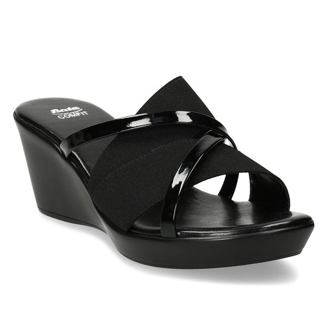 Černé dámské pantofle na platformě comfit, černá, 661-6626 - 13