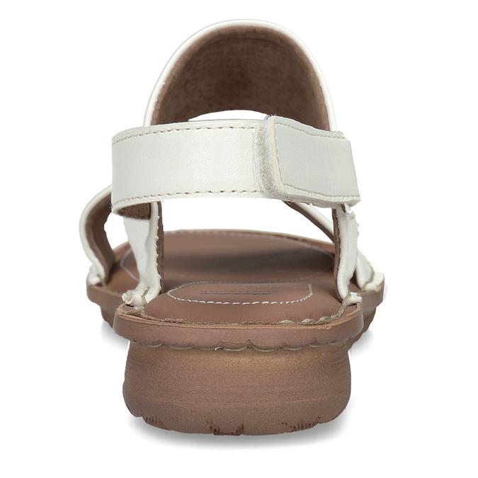 Bílé kožené dámské sandály s prošitím comfit, bílá, 564-1610 - 15