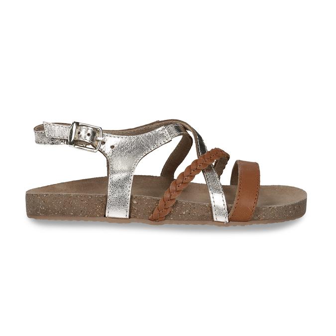 Kožené hnědé sandály se zlatými pásky mini-b, hnědá, 266-4605 - 19
