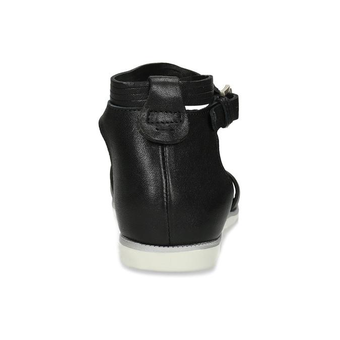 Černé dámské kožené sandály s kamínky bata, černá, 564-6614 - 15