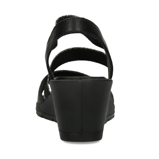 Černé sandály na klínovém podpatku comfit, černá, 666-6606 - 15