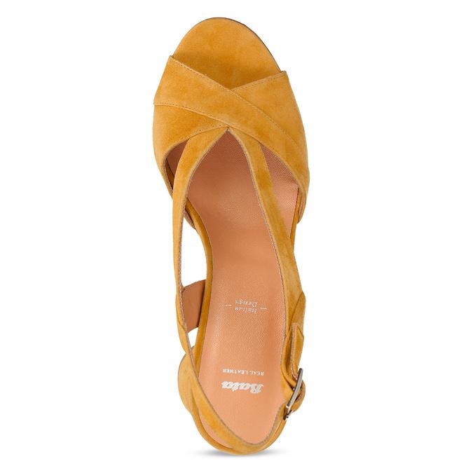 Žluté dámské kožené sandály na stabilním podpatku bata, žlutá, 763-8602 - 17