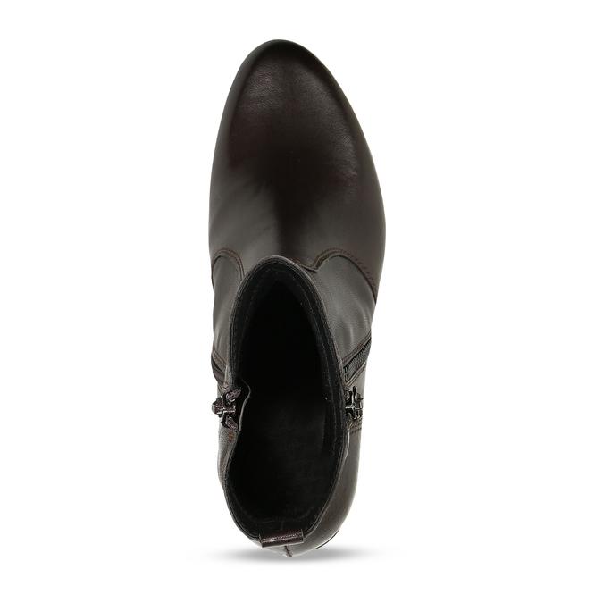 Dámská hnědá kožená kotníková obuv na zip bata, hnědá, 594-4692 - 17