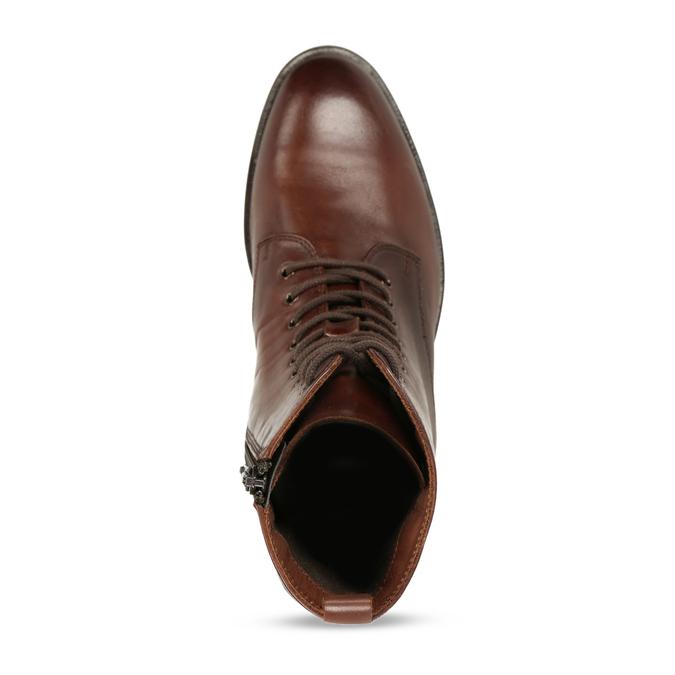 Dámská kožená kotníková obuv na zip bata, hnědá, 594-4620 - 17