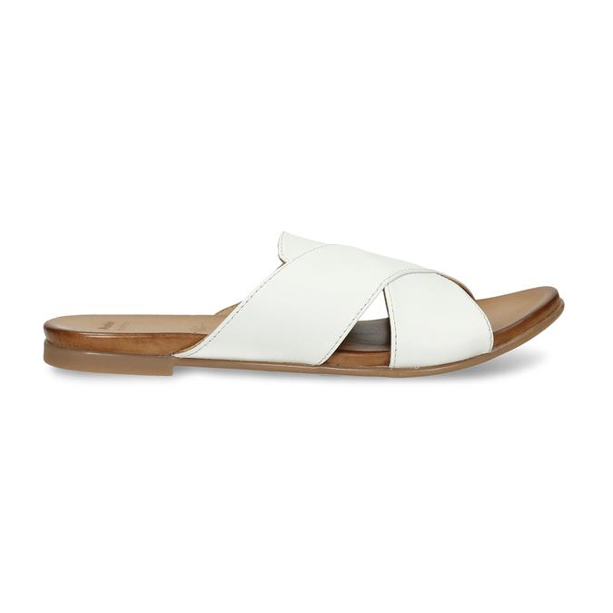 Bílé kožené nazouváky s překříženými pásky bata, bílá, 564-1613 - 19
