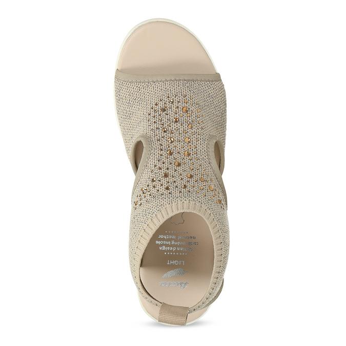 Béžové sandály na flatformě bata-light, zlatá, 669-8625 - 17
