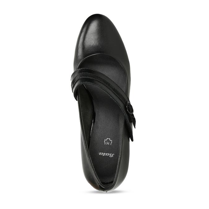 Černé kožené lodičky s páskem přes nárt bata, černá, 624-6629 - 17