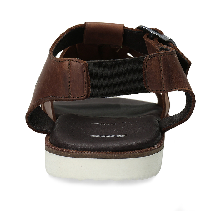 Hnědé pánské kožené sandály se zapínáním u kotníků bata, hnědá, 866-4606 - 15
