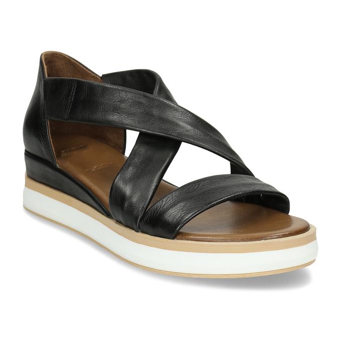 Dámské kožené sandály na silnější podešvi v černé barvě bata, černá, 664-6616 - 13