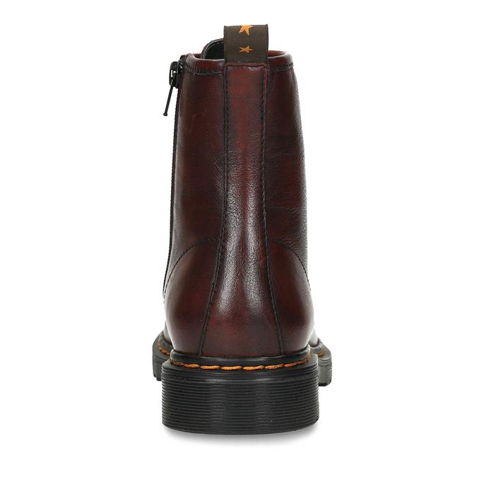 Dámská šněrovací kotníková obuv v tmavočervené kůži bata, červená, 594-5608 - 15