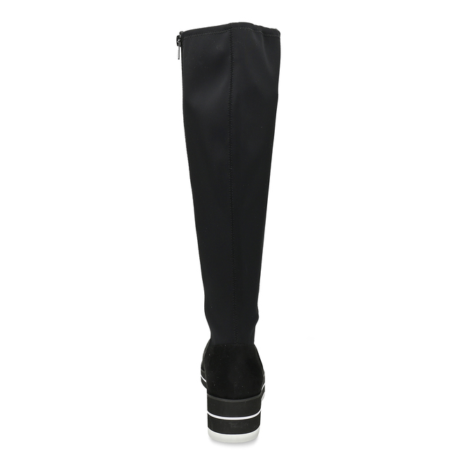 Vysoké černé kozačky na bílé platformě bata, černá, 599-6612 - 15