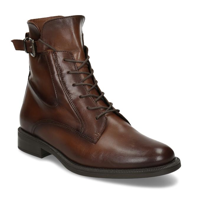 Dámská kožená kotníková obuv se šněrováním bata, hnědá, 594-4664 - 13