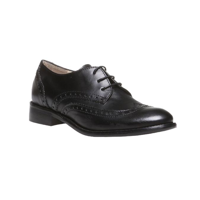 Kožené polobotky s klasickým zdobením bata, černá, 2019-524-6184 - 13