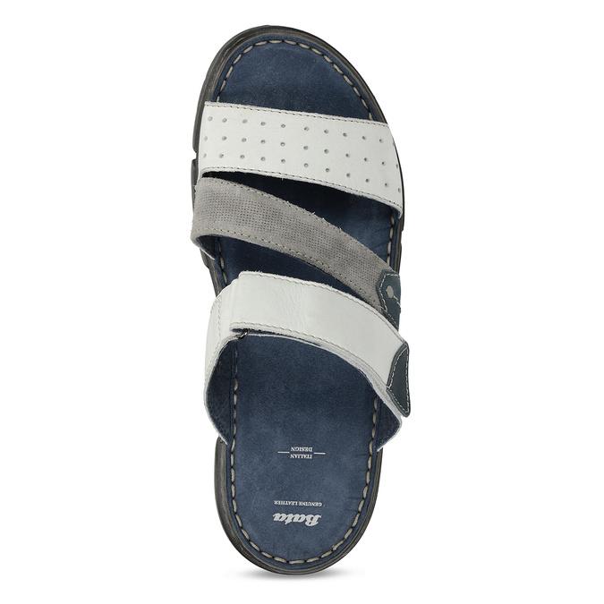 Bílé pánské kožené pantofle bata, bílá, 866-1659 - 17