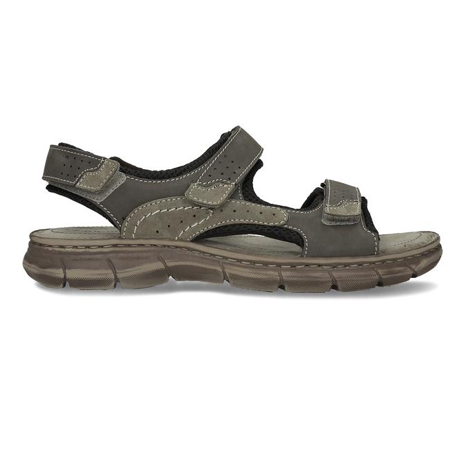 Šedé pánské kožené sandály ve sportovním střihu weinbrenner, šedá, 866-4604 - 19