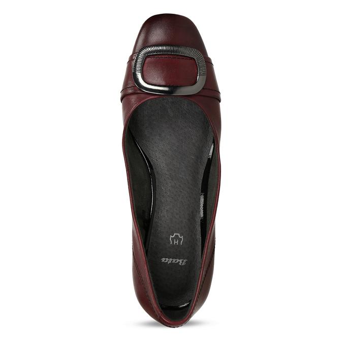 Vínové lodičky z kůže s výraznou přezkou bata, červená, 624-5628 - 17